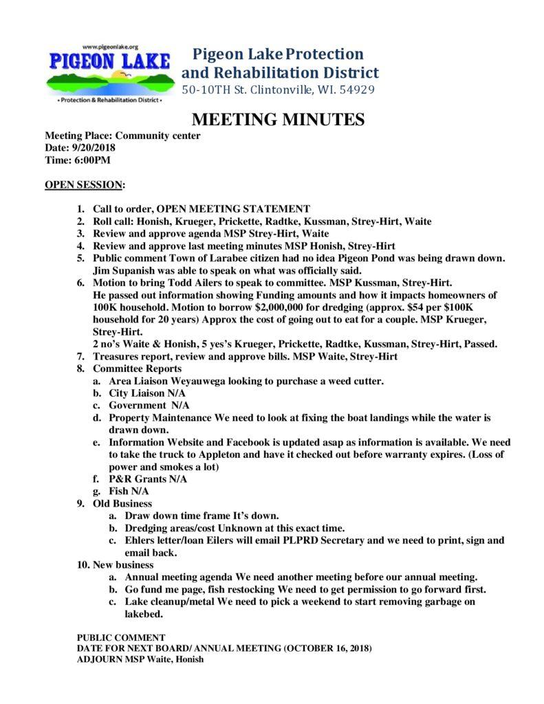 thumbnail of PIGEON LAKE MEETING MINUTES SEPTEMBER 20 2018