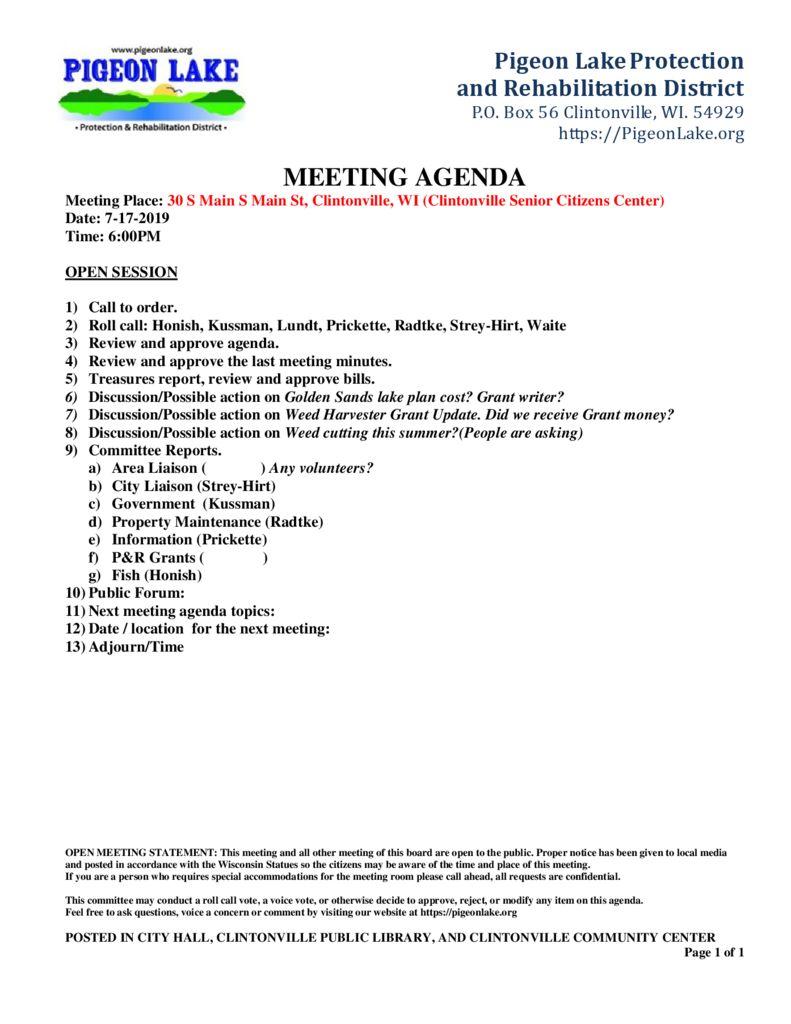 thumbnail of PIGEON LAKE MEETING AGENDA 7-17-2019