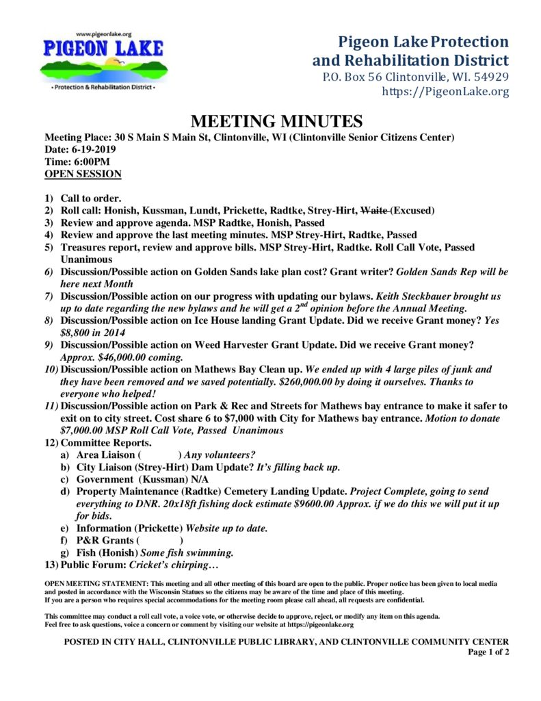 thumbnail of PIGEON LAKE MEETING MINUTES 6-19-2019